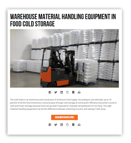 food beverage and cold-storage forklifts and equipment pennwest toyota