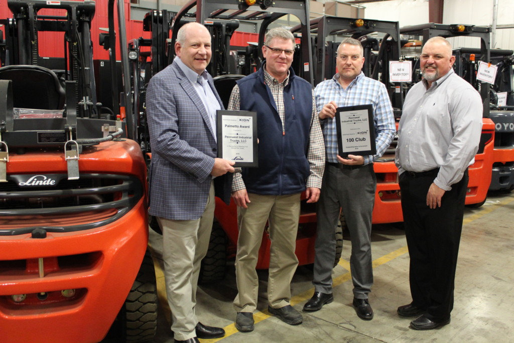PennWest Industrial Trucks: Pictured from left to right: Mark Gaier, Rich Bevington, Scott Bennington, G.R. Clemence
